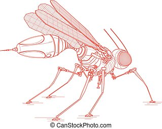 mosquito - vector line drawing, technical illustration