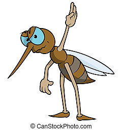 Mosquito With Raised Hand - Colored Cartoon Illustration, Vector