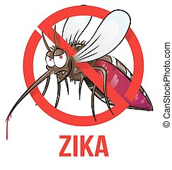 mosquito zika cartoon isolated on white