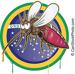mosquito zika cartoon on brazil flag