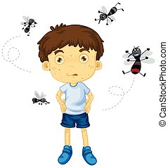 Mosquitos biting little boy illustration