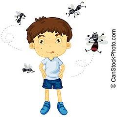 Mosquitos biting little boy illustration