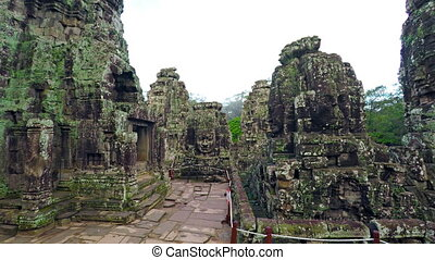 Moss and Lichen Encrusted Exterior of Bayon Temple in Cambodia