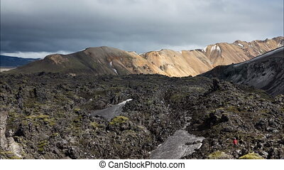 moss-covered lava fields - Time Lapse of the expansive...