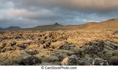 moss-covered lava fields - Loopable Time Lapse of the...