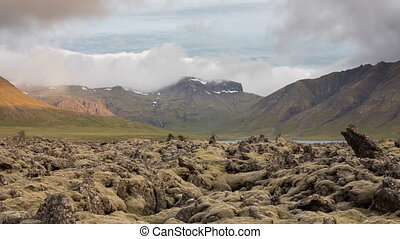moss-covered lava fields - 4K Version of Time Lapse of the...