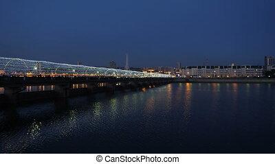 most, świecący, night., barwny, ludzie