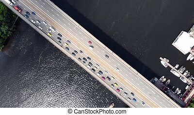 most, asfalt, szary, na, głęboki, dżem, handel, masywny, ...