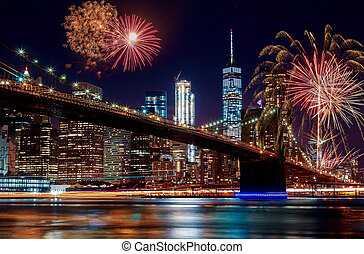 most, barwny, zmierzch, wibrujący, fajerwerki, brooklyn, york, nowy, miasto