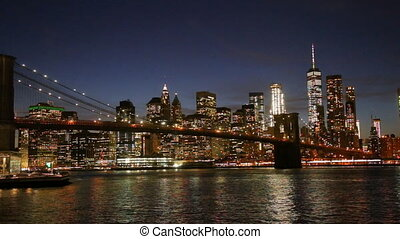 most, brooklyn, sylwetka na tle nieba, york., nowy, ...