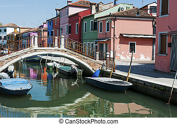 most, burano, włochy, kanał, wyspa, wenecja, -, domy, łódki, barwny, prospekt