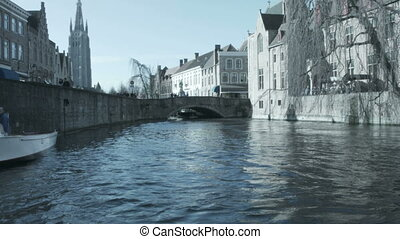 Most common view of medieval Bruges, Belgium.