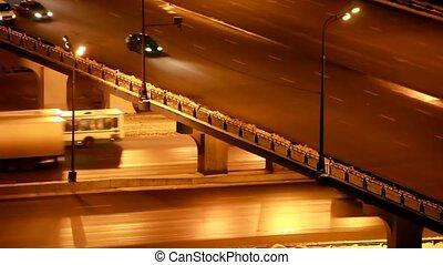most, dookoła, crossroads, noc, ruch, zima