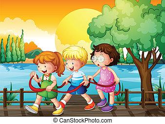 most, dzieciaki, drewniany, wnętrze, trzy, interpretacja, wstążka