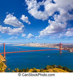 most, francisco, san, złoty, marin przylądki, kalifornia, ...