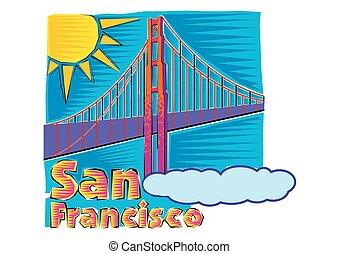 most, francisco, sztuka, san, zacisk, brama złotego, clipart