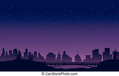 most, i, miasto, krajobraz, od, sylwetka