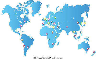 Most Important City Capitals Map Pins On World Map Vector ...