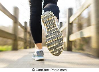 most, kobieta, kraj, rano, jogging, wszerz