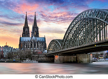 most, -, kolonia, zachód słońca, noc, katedra, hohenzollern