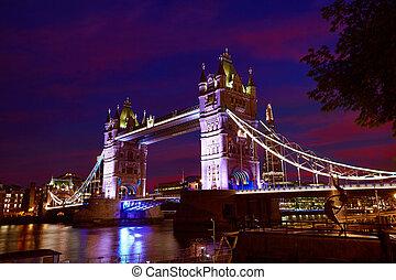 most, londyn, tamiza, zachód słońca, wieża, rzeka