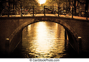 most, na, amsterdam., romantyk, canal.