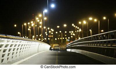 most, noc, opróżniać, światła