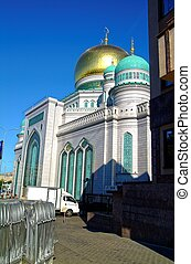 most of the Moscow mosque on blue sky background