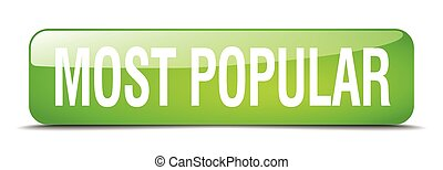 most popular green square 3d realistic isolated web button