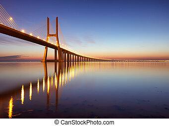most, portugalia, -, vasco, da, gama, lisbona, wschód słońca