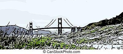 most, różny, brama, droga, złoty