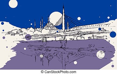 most, rys, istambuł, metro, ilustracja, rysunek