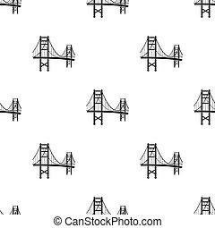 most, styl, illustration., usa, złoty, kraj, odizolowany, tło., wektor, czarnoskóry, próbka, brama, biały, ikona, pień