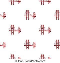most, styl, illustration., usa, złoty, kraj, odizolowany, tło., wektor, próbka, brama, biały, ikona, rysunek, pień