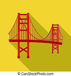most, styl, illustration., usa, złoty, kraj, symbol, odizolowany, flate, tło., wektor, brama, biały, ikona, pień