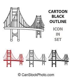 most, styl, illustration., usa, złoty, kraj, symbol, odizolowany, tło., wektor, brama, biały, ikona, rysunek, pień