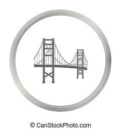 most, styl, illustration., usa, złoty, kraj, symbol, odizolowany, tło., wektor, brama, monochromia, biały, ikona, pień
