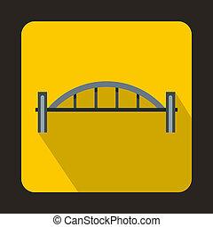 most, styl, płaski, kolumny, ikona, okrągły