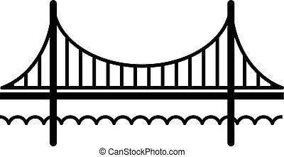 most, styl, złoty, prosty, czarnoskóry, ikona, brama