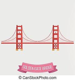 most, tło złotego, brama, biały, ikona