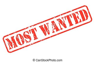 Most wanted red stamp text on white