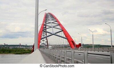 most, wozy, niebo, pochmurny, ruchomy, przez, droga