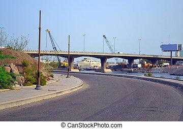 most, zachód, na, czterdziestka, morski port