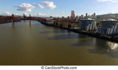 most, zaciągnąć, miasto, willamette, śródmieście, sylwetka ...