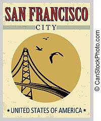 most, zjednoczony, złoty, afisz, stany, brama, ameryka