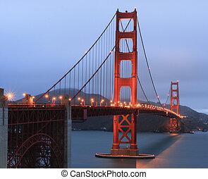 most, zmierzch, brama, złoty