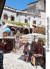 Typical afternoon scene on bazaar street of Mostar - MOSTAR,...