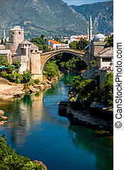 Mostar city view - Beautiful view on Mostar city with old...