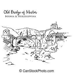 mostar, ilustración, bosquejo, viejo, dibujo, puente