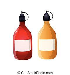 mostarda, alimento, garrafa plástico, molho, ketchup, cozinha